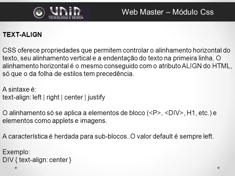 Web Master – Módulo Css TEXT-ALIGN