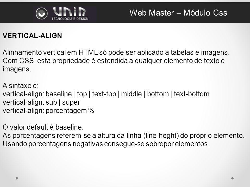 Web Master – Módulo Css VERTICAL-ALIGN
