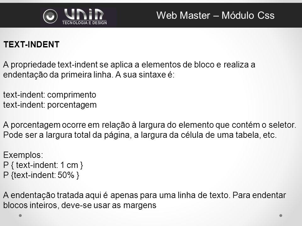 Web Master – Módulo Css TEXT-INDENT