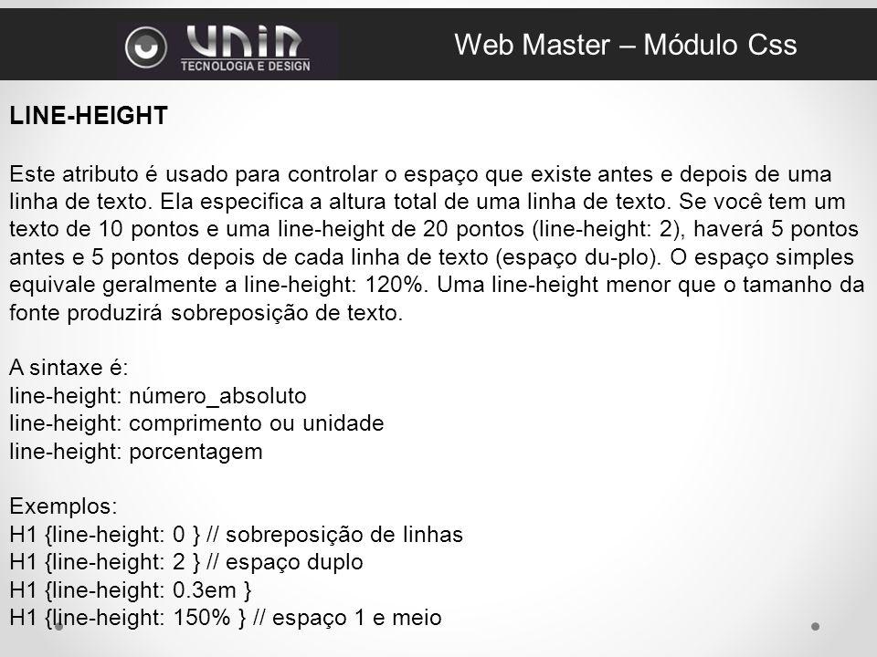 Web Master – Módulo Css LINE-HEIGHT