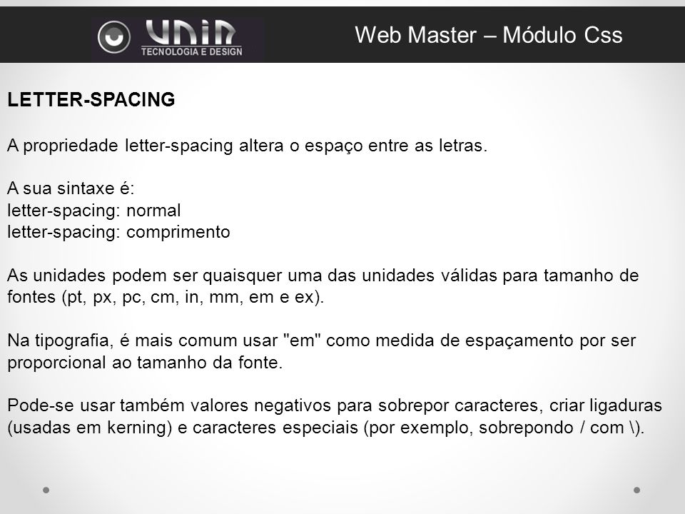 Web Master – Módulo Css LETTER-SPACING