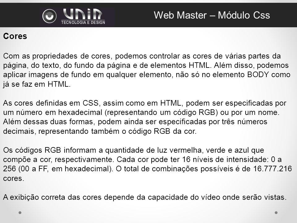 Web Master – Módulo Css Cores