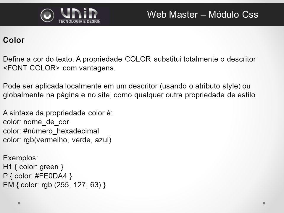 Web Master – Módulo Css Color