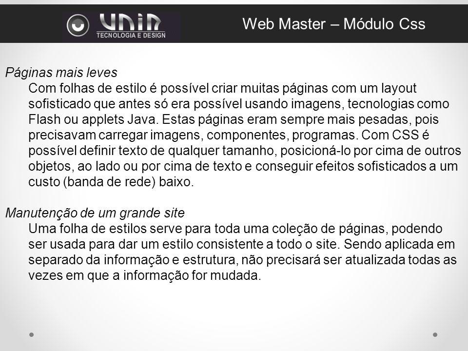 Web Master – Módulo Css Páginas mais leves