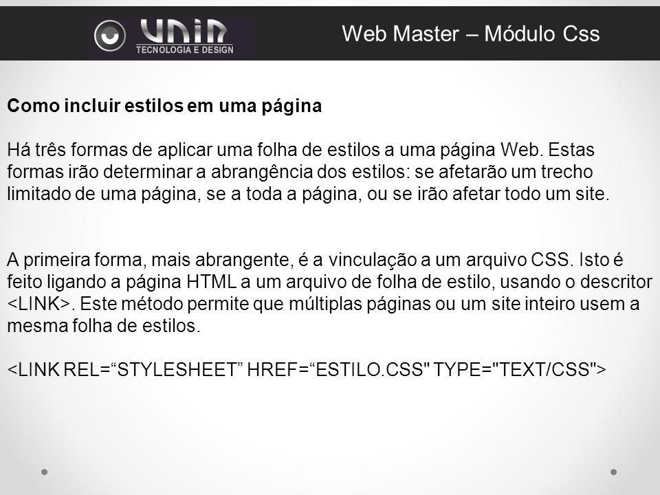 Web Master – Módulo Css Como incluir estilos em uma página
