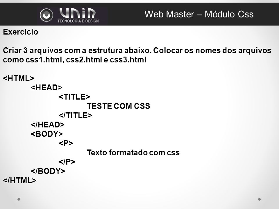Web Master – Módulo Css Exercício