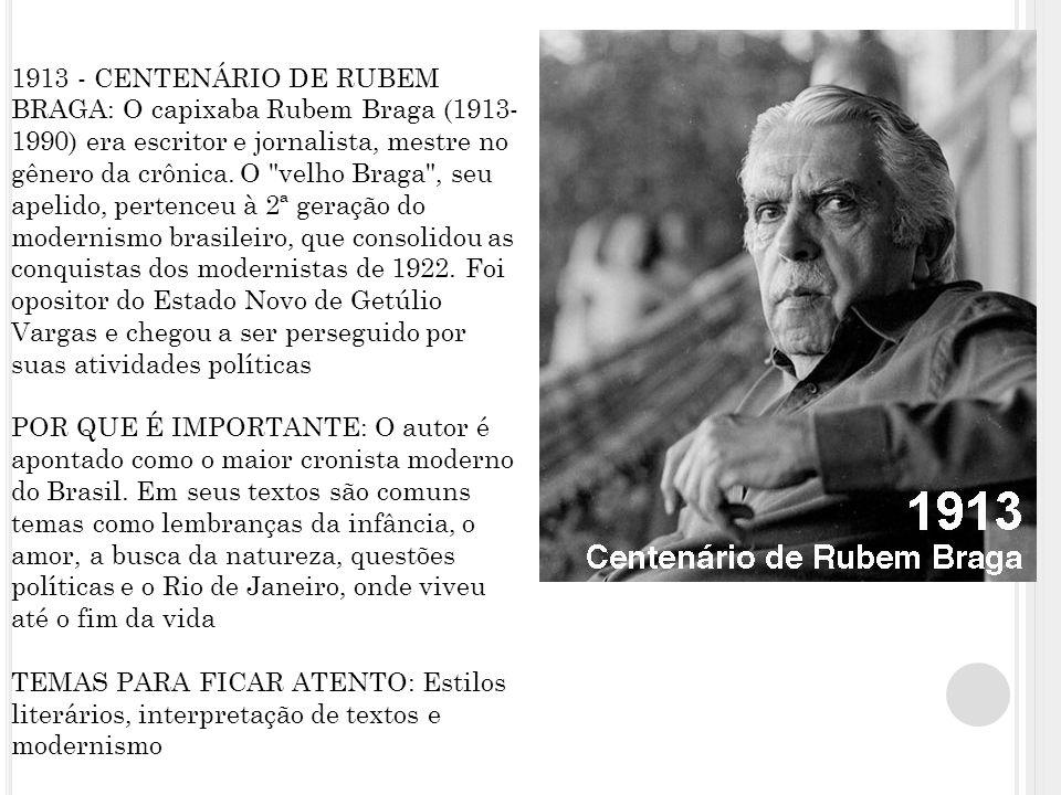 1913 - CENTENÁRIO DE RUBEM BRAGA: O capixaba Rubem Braga (1913-1990) era escritor e jornalista, mestre no gênero da crônica.