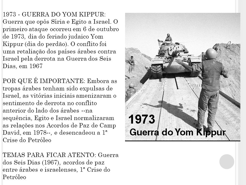 1973 - GUERRA DO YOM KIPPUR: Guerra que opôs Síria e Egito a Israel