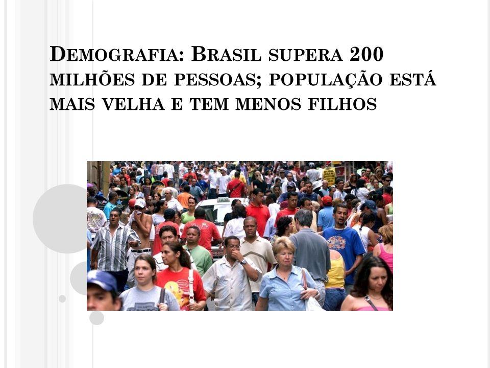 Demografia: Brasil supera 200 milhões de pessoas; população está mais velha e tem menos filhos
