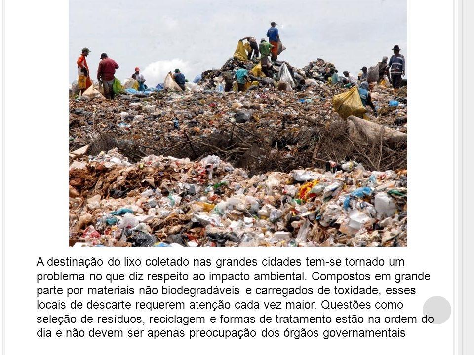 A destinação do lixo coletado nas grandes cidades tem-se tornado um problema no que diz respeito ao impacto ambiental.