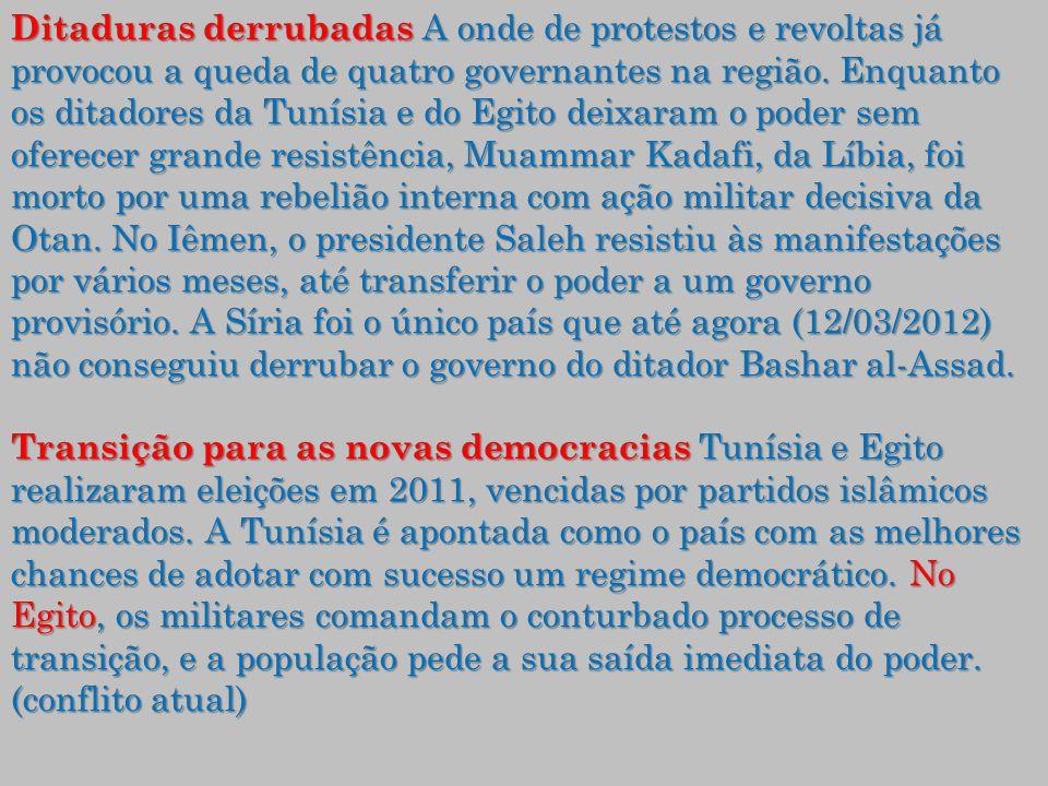 Ditaduras derrubadas A onde de protestos e revoltas já provocou a queda de quatro governantes na região.