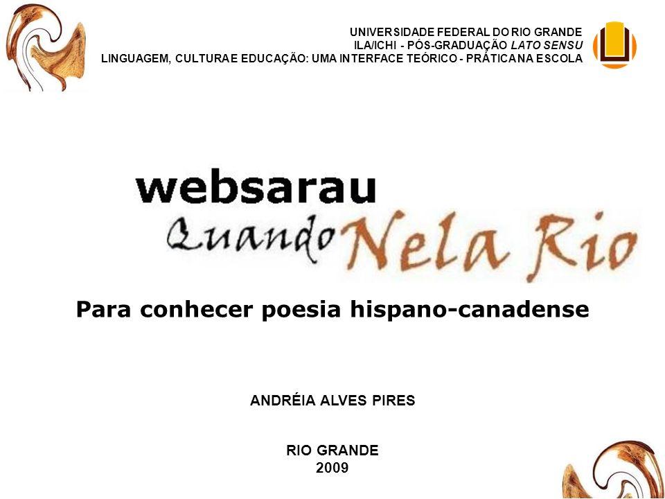 Para conhecer poesia hispano-canadense