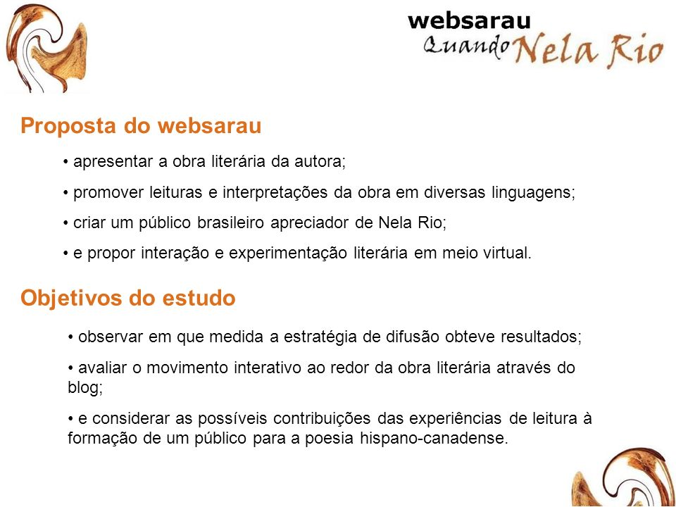 Proposta do websarau Objetivos do estudo