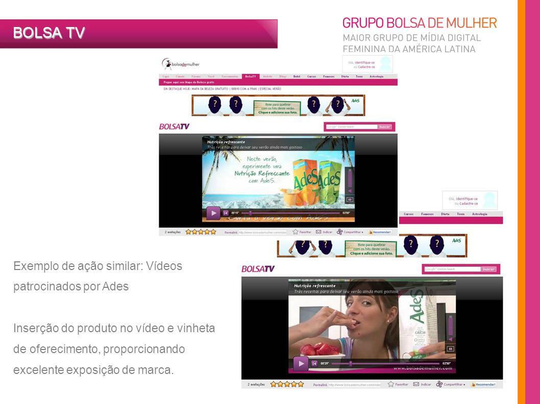 BOLSA TV Exemplo de ação similar: Vídeos patrocinados por Ades