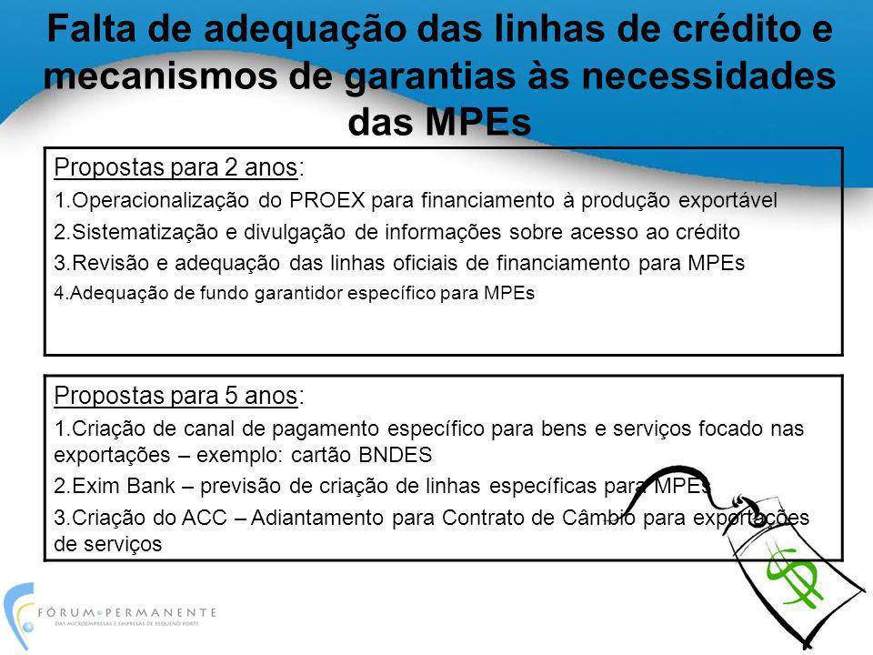Falta de adequação das linhas de crédito e mecanismos de garantias às necessidades das MPEs