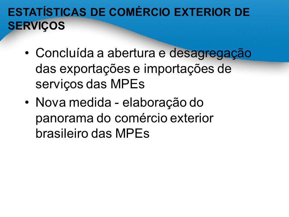 ESTATÍSTICAS DE COMÉRCIO EXTERIOR DE SERVIÇOS