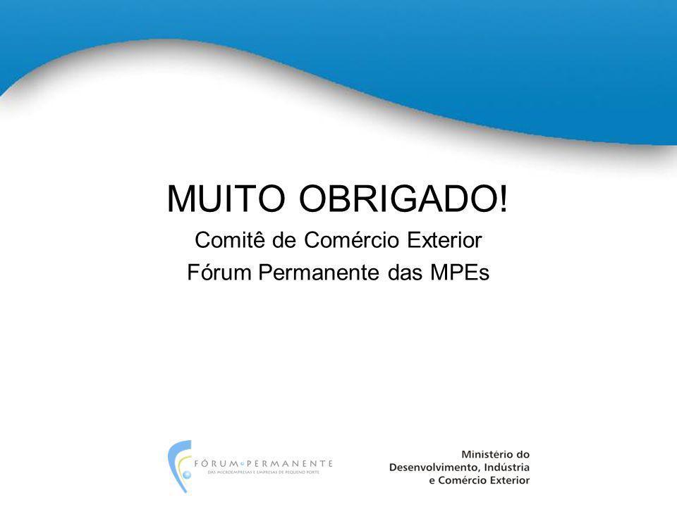 MUITO OBRIGADO! Comitê de Comércio Exterior Fórum Permanente das MPEs