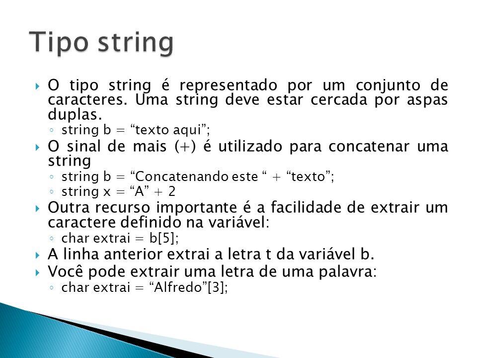 Tipo string O tipo string é representado por um conjunto de caracteres. Uma string deve estar cercada por aspas duplas.