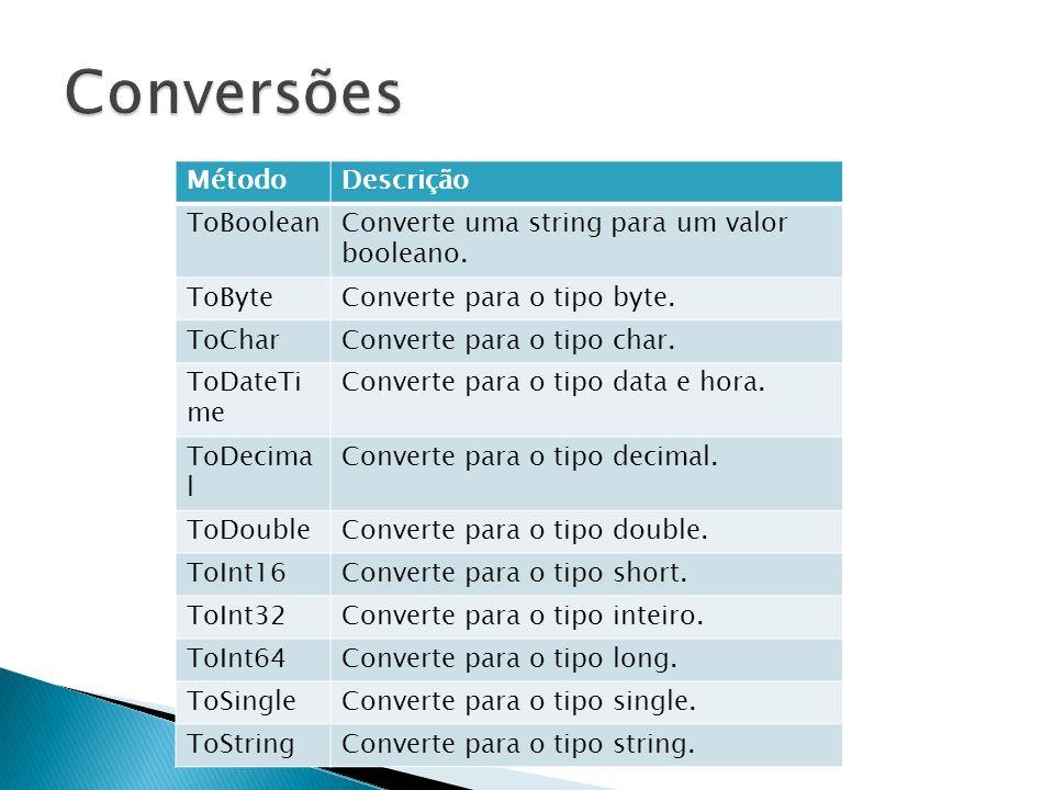 Conversões Método Descrição ToBoolean