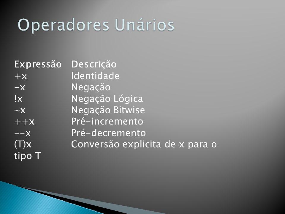 Operadores Unários Expressão Descrição +x Identidade -x Negação