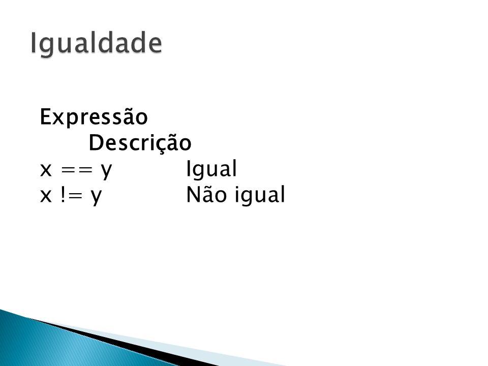 Igualdade Expressão Descrição x == y Igual x != y Não igual