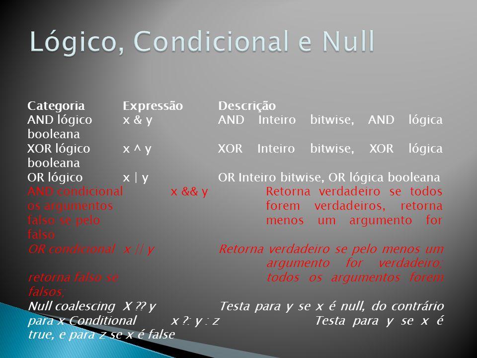 Lógico, Condicional e Null