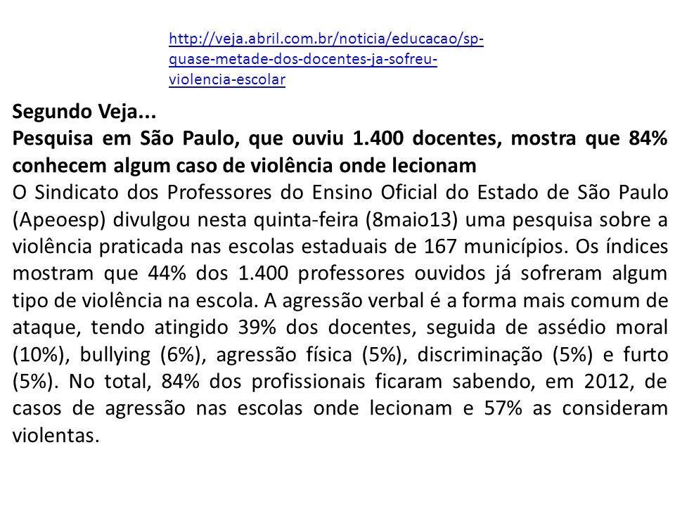 http://veja.abril.com.br/noticia/educacao/sp-quase-metade-dos-docentes-ja-sofreu-violencia-escolar Segundo Veja...