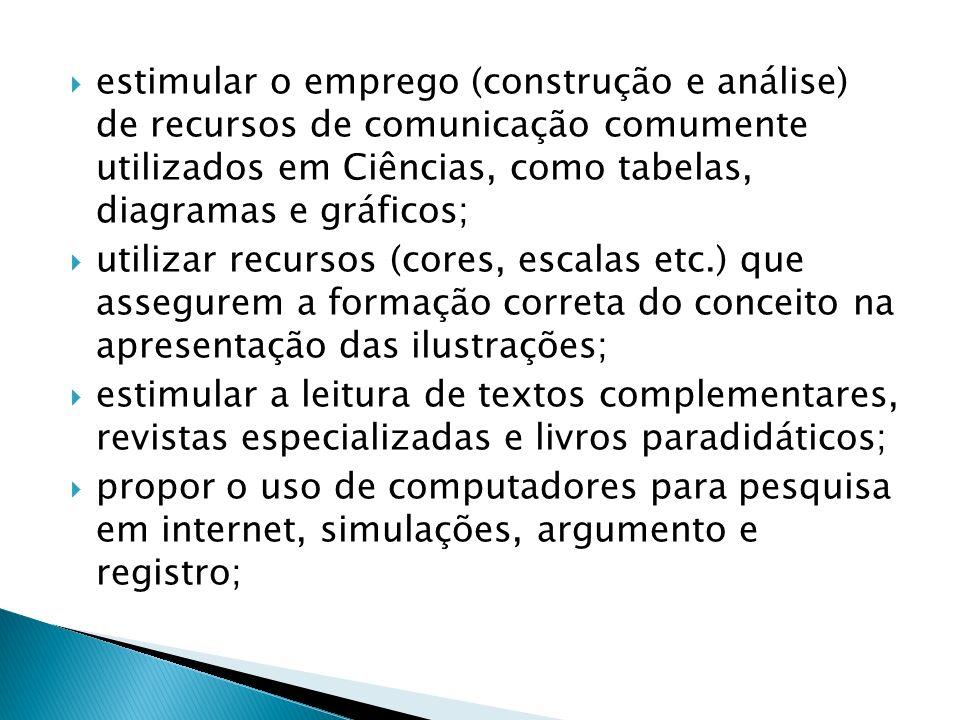 estimular o emprego (construção e análise) de recursos de comunicação comumente utilizados em Ciências, como tabelas, diagramas e gráficos;