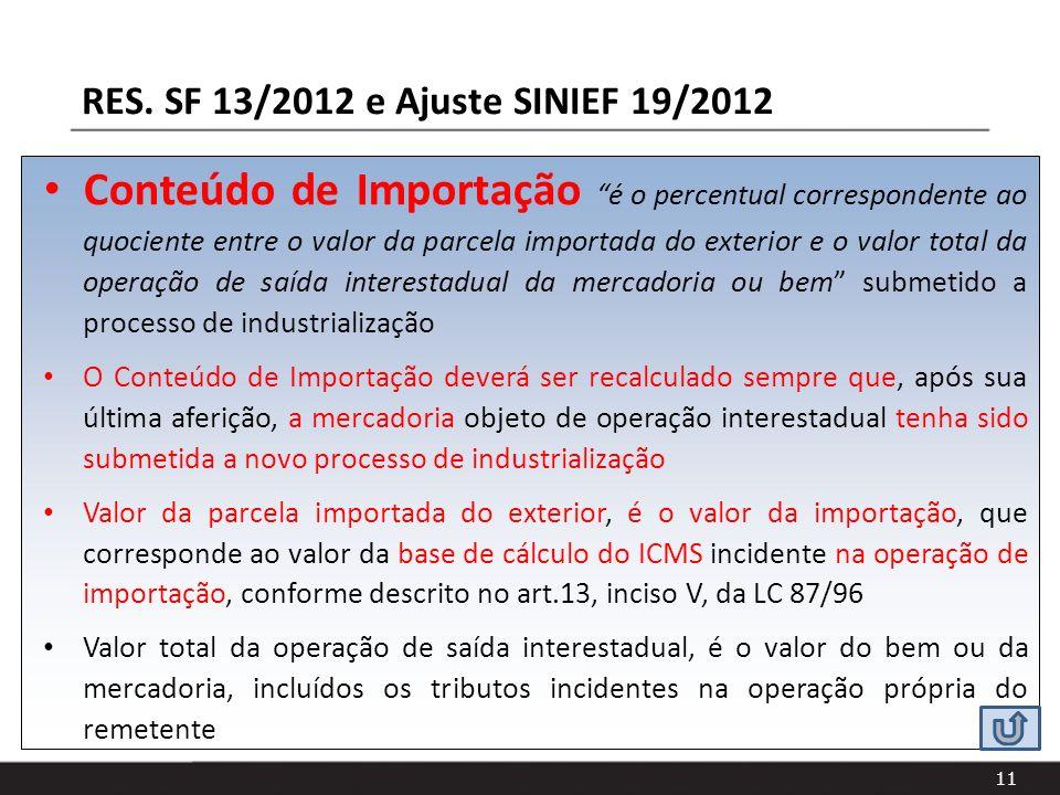 RES. SF 13/2012 e Ajuste SINIEF 19/2012