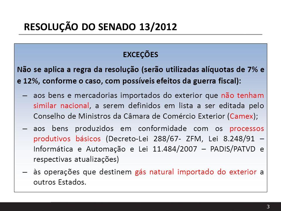 RESOLUÇÃO DO SENADO 13/2012 EXCEÇÕES