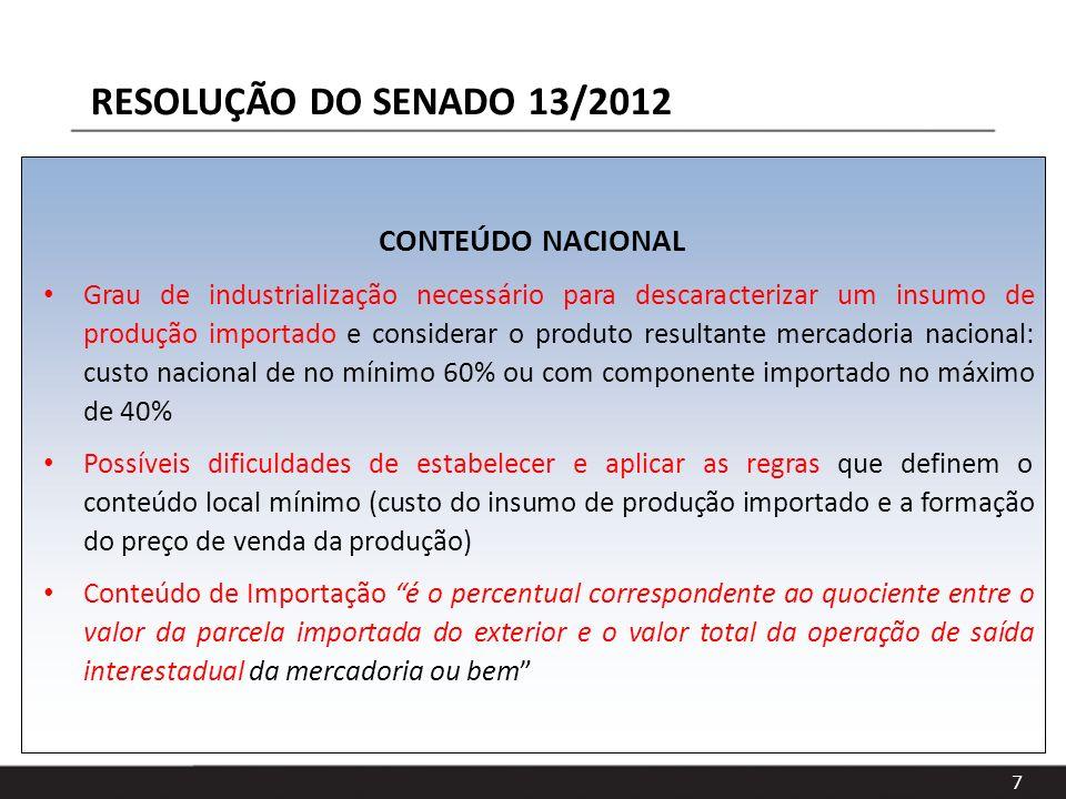 RESOLUÇÃO DO SENADO 13/2012 CONTEÚDO NACIONAL