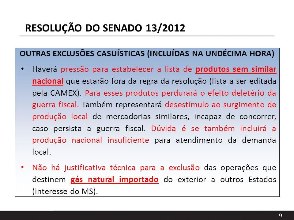 OUTRAS EXCLUSÕES CASUÍSTICAS (INCLUÍDAS NA UNDÉCIMA HORA)