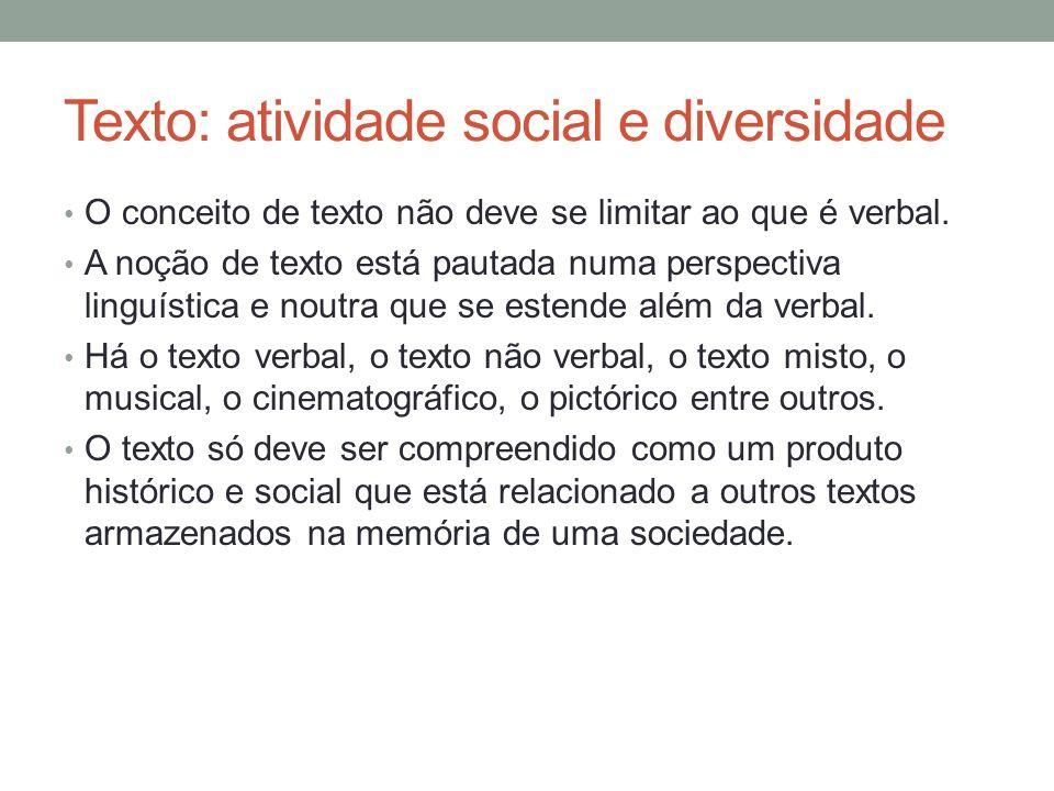 Texto: atividade social e diversidade
