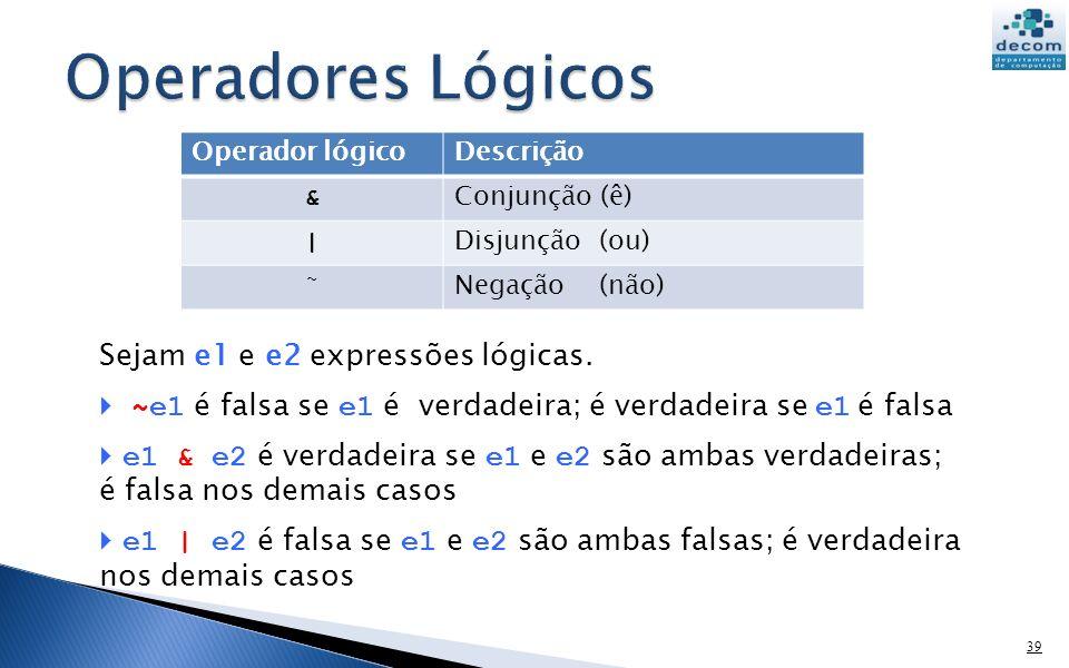 Operadores Lógicos Sejam e1 e e2 expressões lógicas.