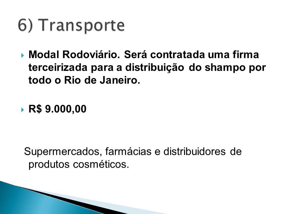 6) Transporte Modal Rodoviário. Será contratada uma firma terceirizada para a distribuição do shampo por todo o Rio de Janeiro.