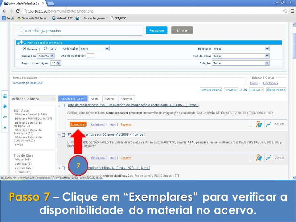Passo 7 – Clique em Exemplares para verificar a disponibilidade do material no acervo.