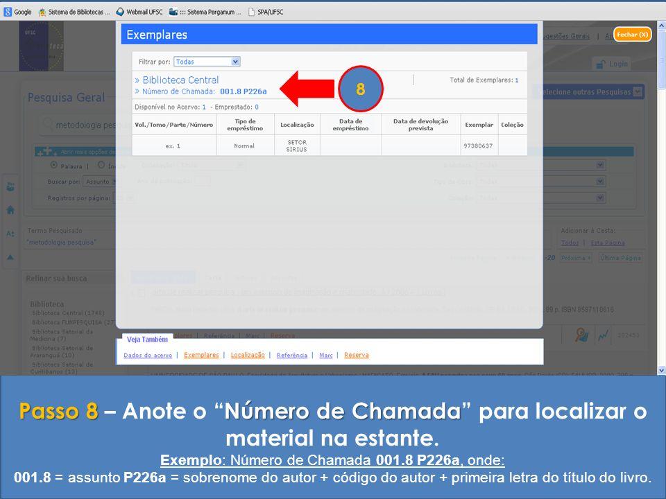 Exemplo: Número de Chamada 001.8 P226a, onde: