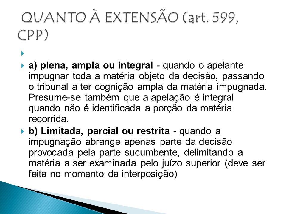 QUANTO À EXTENSÃO (art. 599, CPP)