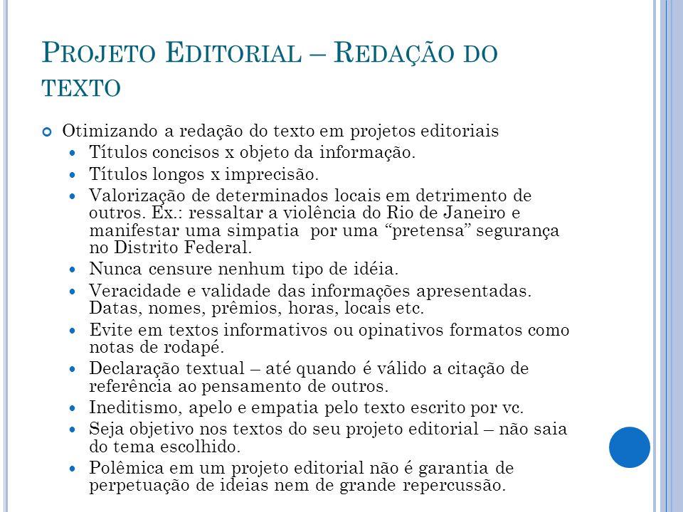 Projeto Editorial – Redação do texto