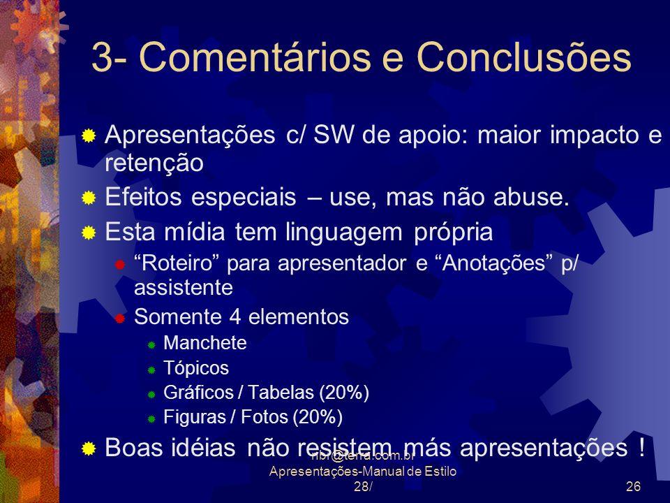 3- Comentários e Conclusões