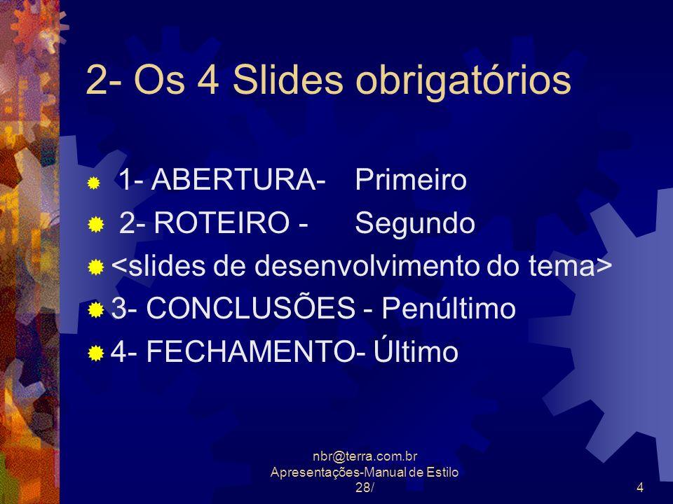 2- Os 4 Slides obrigatórios