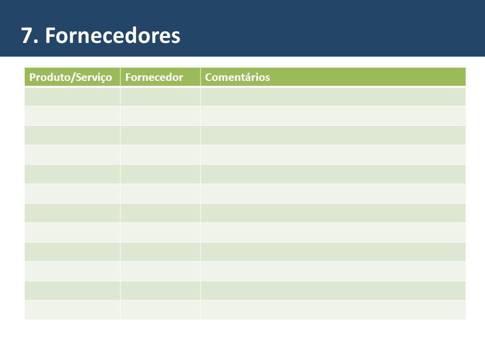 7. Fornecedores Produto/Serviço Fornecedor Comentários