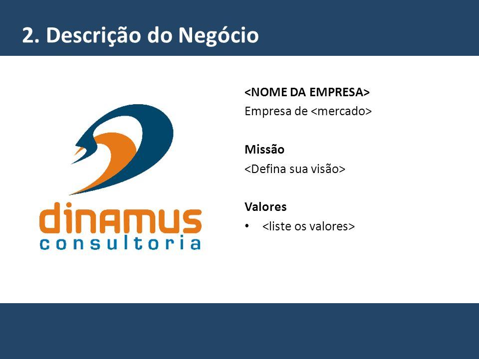 2. Descrição do Negócio <NOME DA EMPRESA>