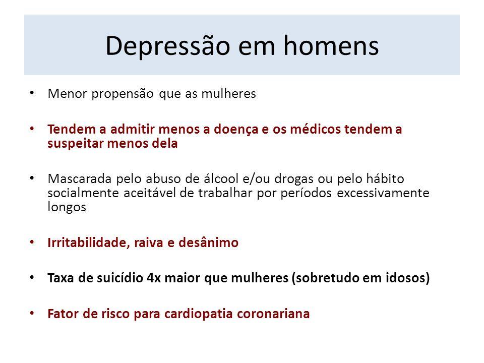 Depressão em homens Menor propensão que as mulheres
