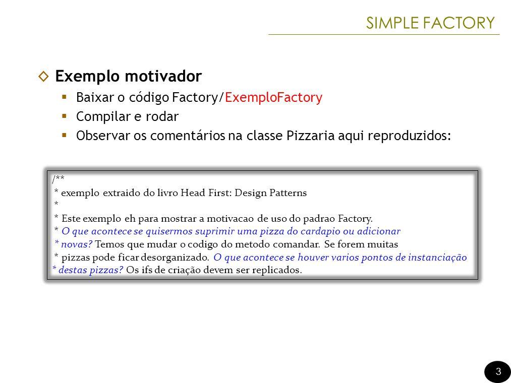 SIMPLE FACTORY Exemplo motivador