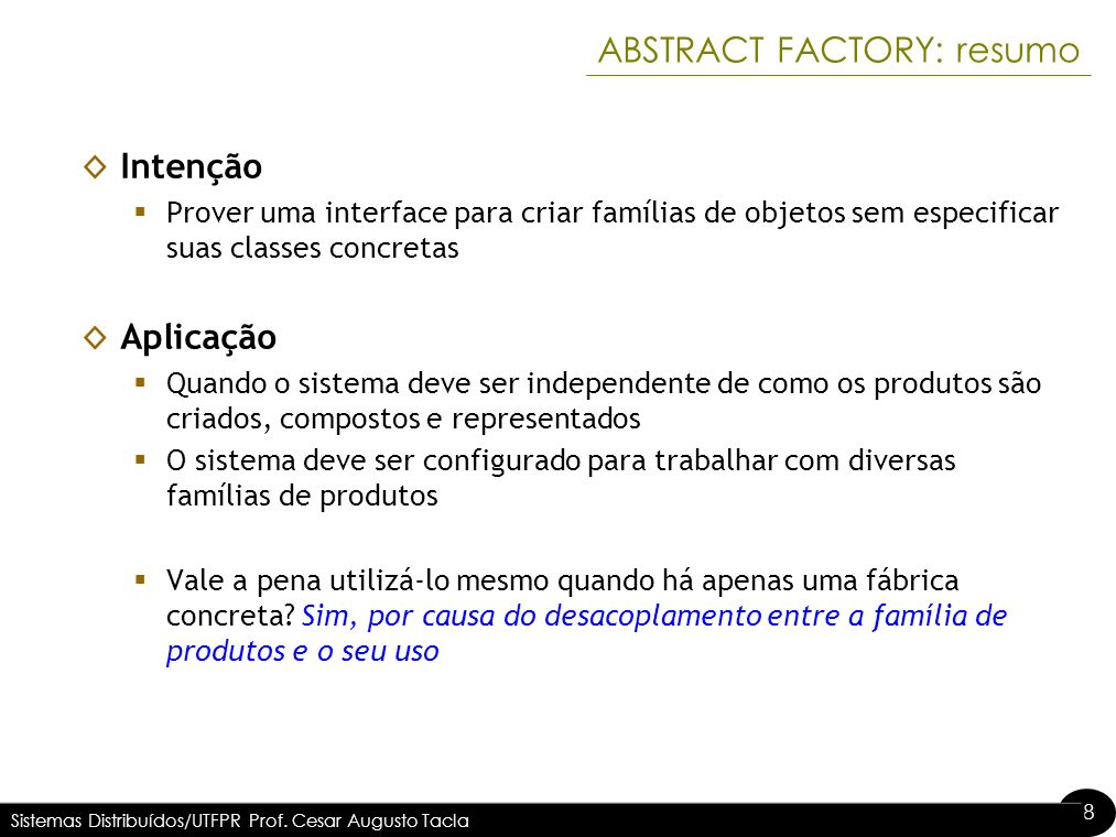 ABSTRACT FACTORY: resumo