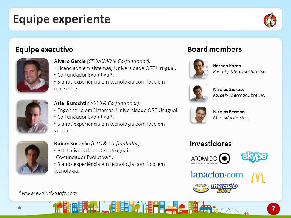 Equipe experiente Equipe executivo Board members Investidores