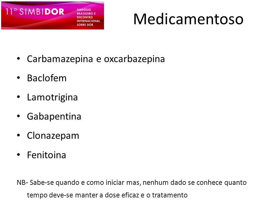 Medicamentoso Carbamazepina e oxcarbazepina Baclofem Lamotrigina
