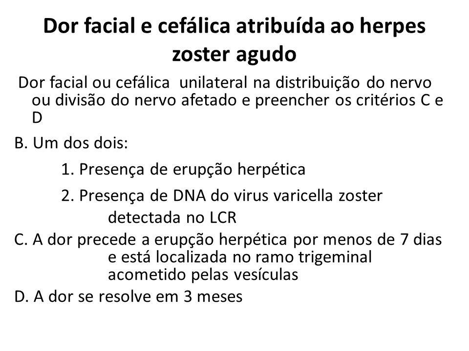 Dor facial e cefálica atribuída ao herpes zoster agudo