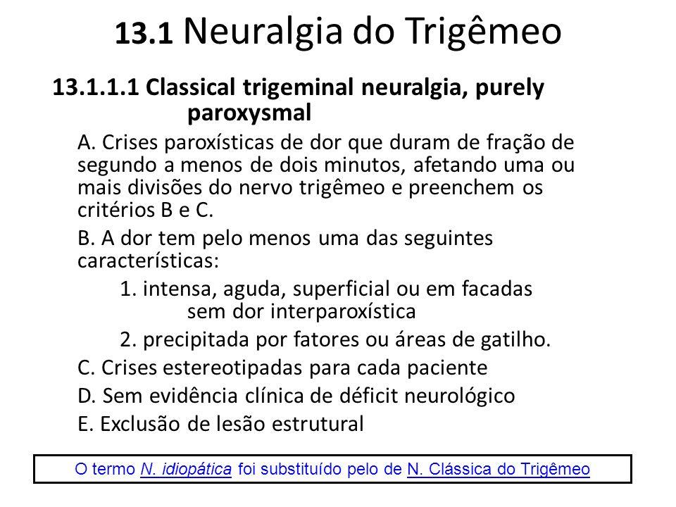 O termo N. idiopática foi substituído pelo de N. Clássica do Trigêmeo